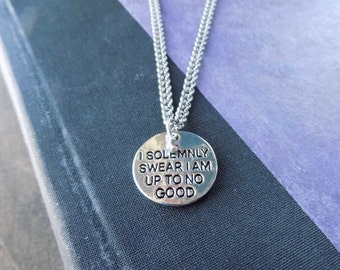 """Harry Potter Themed """"I Solemnly Swear I Am Up To No Good"""" Charm Necklace"""