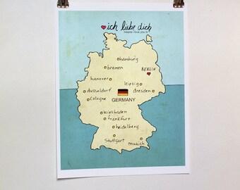 I Love You in Germany // German Map, Giclee, Modern Baby Nursery Decor, European Travel Theme, Digital Print, Oktoberfest, Deutschland