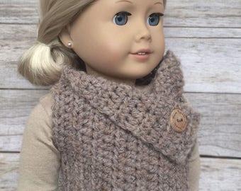 DIY Crochet Pattern - 18 inch Doll Almond Button Vest PDF 17  (Fits American Girl Dolls) – Digital Download