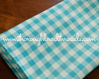 Adorable Turquoise Gingham- Vintage Fabric Classic Blue Doll Clothes (Reserved)