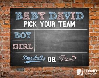 Baseballs or Bows, Baseball Theme Gender Reveal Poster