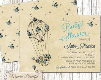 Baby Boy Balloon Vintage Baby Shower invitation, blue vintage baby invitation, shower invitation, boy baby shower invite, vintage balloon