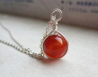 Red Onyx/Sardonyx Pendant with pure sterling silver wire wrapped for necklace, original handmade