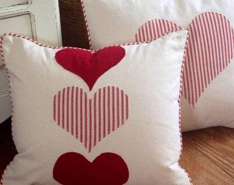 Heart Pillow Red Heart Pillow Ticking Pillows Farmhouse Pillow shabby chic pillow hearts pillow red ticking pillow