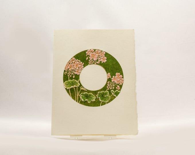 Geranium Card Letterpress flower card Embossed flower card Flowers  Single card Blank inside.