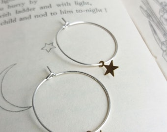 Little Stars hoop earrings - mixed metals - golden brass and silver - nickel free