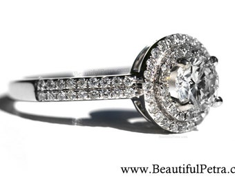 1.50 carat Round - Double Halo - Pave - Antique Style - Diamond Engagement Ring 14K white gold - Weddings - Bp019