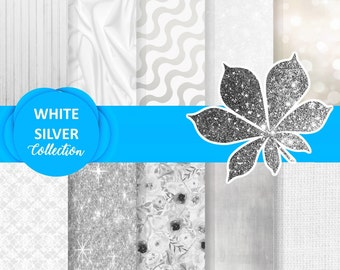 Silver White Paper, silver digital paper, white digital paper, Sparkle paper pack, White paper pack, White wood paper, Snowflake papers