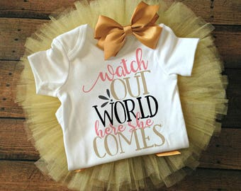 baby girl take home outfit, baby girl clothes, toddler girl outfit, cute baby clothes, newborn outfit, baby shower gift, watch out world