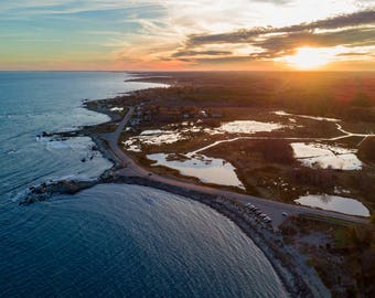Sunset over Odiorne Point - Aerial Photograph (Digital Download)