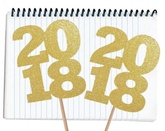 Gold Glitter DIY Graduation Centerpiece Pick 5 Inch Tall 2018 Decoration Graduation Table Decoration Party Supply Set Of 2