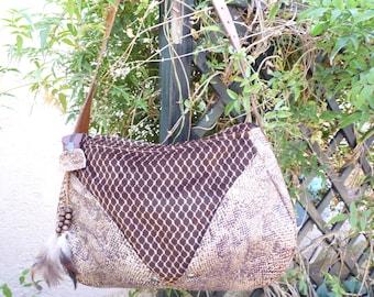 Velvet and faux snakeskin bag brown tone