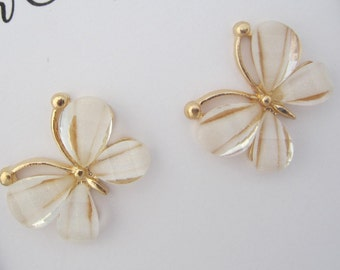 White and Gold Butterflies flatback - set of 2 - attach to bows or headbands