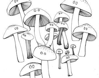 Mushrooms ORIGINAL ink drawing for inktober 2017 illustration black ink on paper  6 x 6