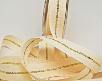 Metallic Canvas Ribbon -- 7 / 8 inches -- Gold Natural/Cream 2 yds