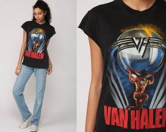 Van Halen Shirt 80s Band T Shirt 1986 5150 Tour TShirt Heavy Metal Black Concert Tee Vintage Rock Medium