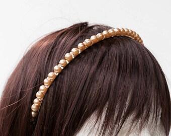 Headband ivory pearls and iridescent beads