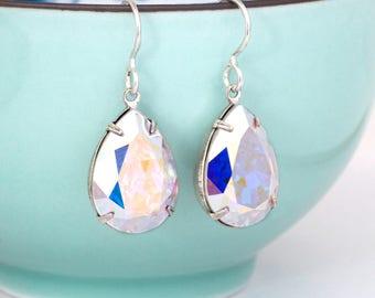 Iridescent Earrings Swarovski Crystal Earring Leverback Iridescent Crystal Jewelry Iridescent Rhinestone Earring Drop Iridescent Dangle Dea