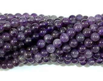 Amethyst Beads, 6mm(6.4mm) Round Beads, 15.5 Inch, Full strand, Approx 63-66 beads, Hole 0.8mm (115054042)