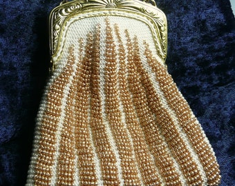 White and Gold Victorian Style Beaded Purse, Knit Purse, Victorian Purse, Coin Purse, Black Evening Bag, Bead Knit Purse