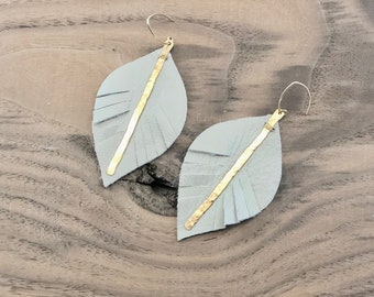 Leather Leaf Earrings With 14kt Gold Filled Bar