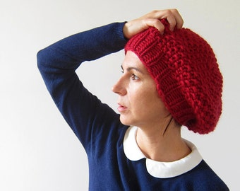Cable Knit Beret Slouchy knit Hat Chunky Red Cap Knitted Beanie Hand knitted red beret Parisien Style Cap Red Slouchy Beret