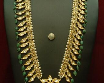 Alyza pearls pathani haar in  emerald onyx stones