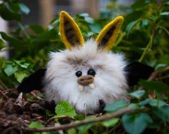 BANANA-  Plush Bat, OOAK Bat Soft Sculpture, Fibre Art, Plush, Needle felting, Halloween Plush