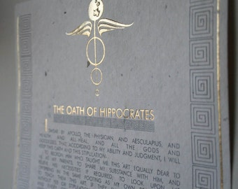 Hippocratic Oath of Hippocrates, Personalized, Handmade Paper, Original Leaves, Physician, Gift for Doctor, MD, Medical Student Graduation