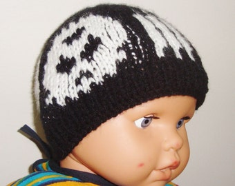 Skull Knit Hat Beanie for Baby Boys Hat in Black and White skulls hand knit hat
