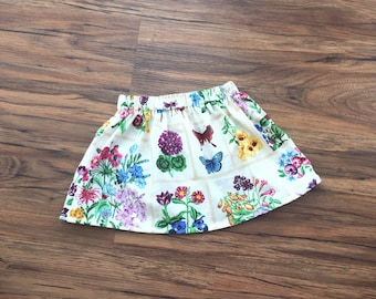 Girls Floral Skirt, Butterfly Skirt, Flowers Spring Skirt, Brown Skirt, Baby Clothing, Girls Clothes, Girls Clothing