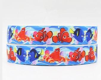 7/8 Grosgrain Ribbon, Cartoon Blue Fish Printed Grosgrain Ribbon, Pacifier clip, Headband, Sewing Crafts
