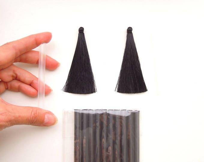 2 LONG black jewellery tassels, Silky mala tassels, Black long jewelry tassels 10 cm tassels, 7 cm tassels, 5 cm tassels