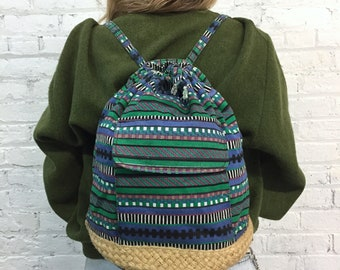 vintage surfer beach drawstring backpack / vintage canvas backpack with natural jute trim