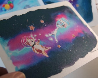 Postcard Set Original Spacecat Illustrations