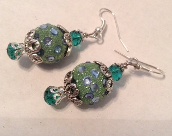 Pave' Turquois Blue and Green Dangle Earring Set; Drop Earrings, Gift for Her, Mother's Day Christmas