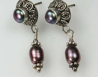 Blue Pearl and Sterling Silver Antique Style Drop Earrings