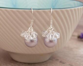 Lavender Pearl Bridal Earrings - Lilac Wedding Earrings - Pale Purple Bridesmaids Earrings - Thank you Gift - Jewellery Made By Me - Etsy UK