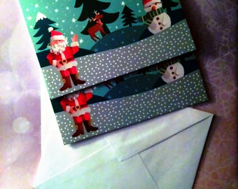 2 Christmas theme (father Christmas with reindeer and snowman) greeting cards