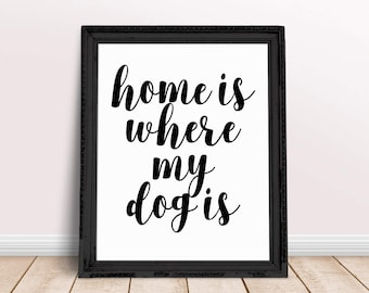 Printable Poster, Home Is Where My Dog Is, Typography poster, Motivational Print, Inspirational Quote, Home Decor 16x20 11x14 8x10 5x7 4x6