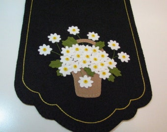 "Hand Stitched 37-1/2"" X 13-1/2"" PICKING DAISIES Wool Felt Table Runner - Fiber Art - Wool Applique - Home Decor - Folk Art - Primitive Art"