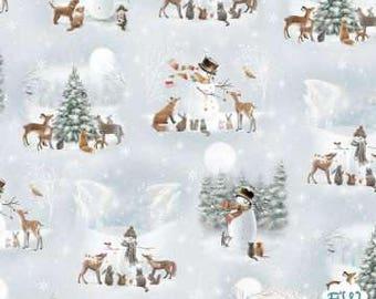 Quilting Treasures - Woodland Friends - 1649-25839-B - Woodland Friends VIignetts - ©Sarah Summers - Snowman Toss - Blue Frost - Winter