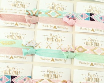 Wild One Birthday Party Hair Tie Favors | Boho Birthday Party Hair Tie Favors, Boho Arrow Aztec Tribal Print Hair Ties, Gold Mint Pink White