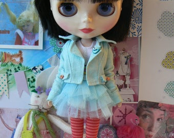 Pink and Coral Socks for Blythe doll handmade in Paris