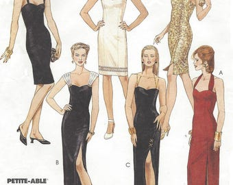1990s Womens Cocktail Dress or Evening Gown Neckline Variations McCalls Sewing Pattern 6883 Size 16 18 20 Bust 38 40 42 UnCut