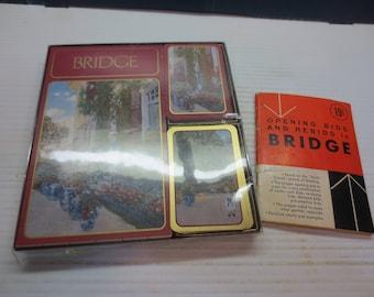 Vintage Caspari Bridge Ensemble Double Deck Playing Card Score Pad With Vintage Bridge Pamphlet 1957