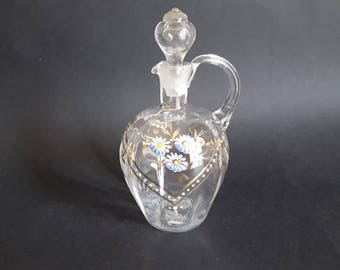 NEW LISTING Classy Victorian Clear Blown Glass Decanter with Applied Enamel Decoration
