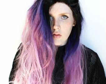 Purple Lace Front Wig. Galaxy Outer Space Alien wig. Dip Dye Gradient Ombre wig. Pastel Purple wig. Black Roots wig // Alien Star