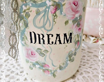 Dream Tea Lite Mason Jar, Hand Painted Rose Heart Wreath with Candle Cup, Cottage Style, Pink Roses, ECS