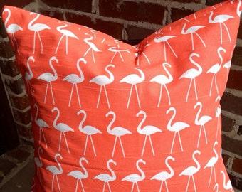 Coral flamingo pillow cover